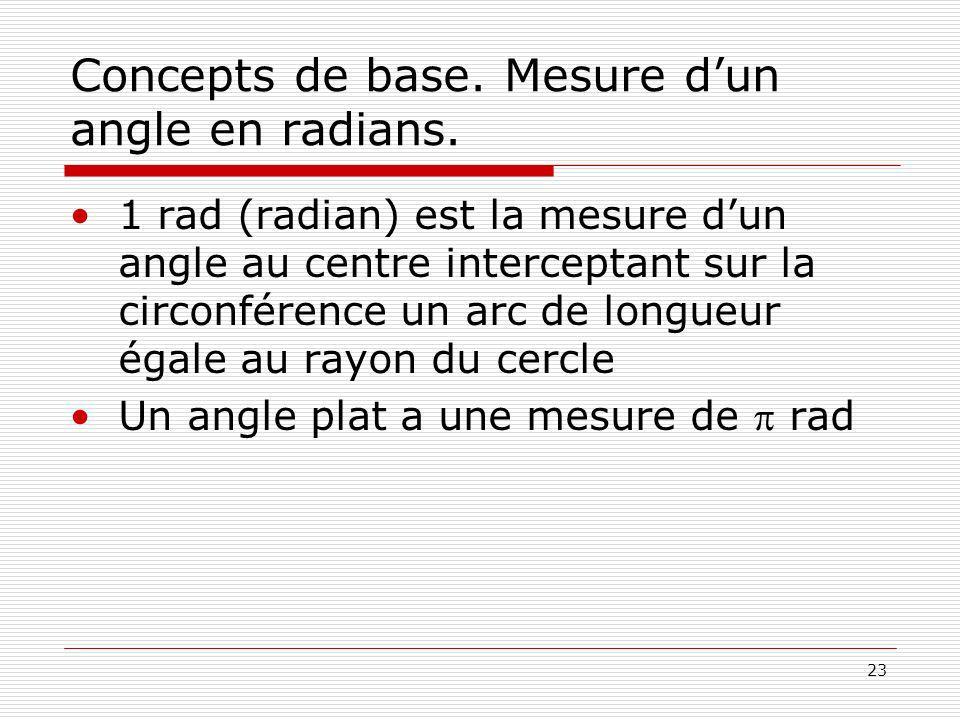 23 Concepts de base. Mesure dun angle en radians. 1 rad (radian) est la mesure dun angle au centre interceptant sur la circonférence un arc de longueu