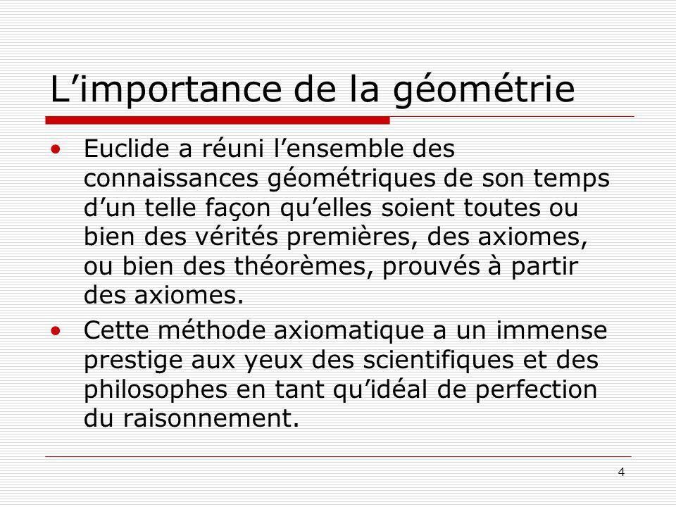 4 Limportance de la géométrie Euclide a réuni lensemble des connaissances géométriques de son temps dun telle façon quelles soient toutes ou bien des vérités premières, des axiomes, ou bien des théorèmes, prouvés à partir des axiomes.