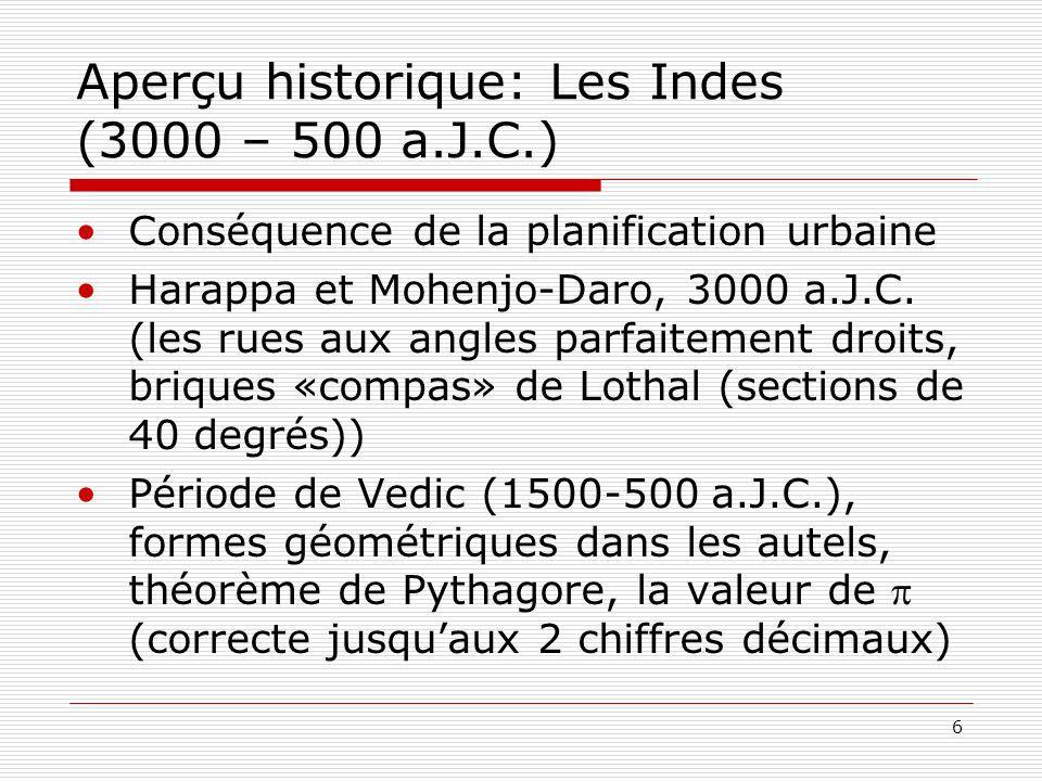 6 Aperçu historique: Les Indes (3000 – 500 a.J.C.) Conséquence de la planification urbaine Harappa et Mohenjo-Daro, 3000 a.J.C. (les rues aux angles p