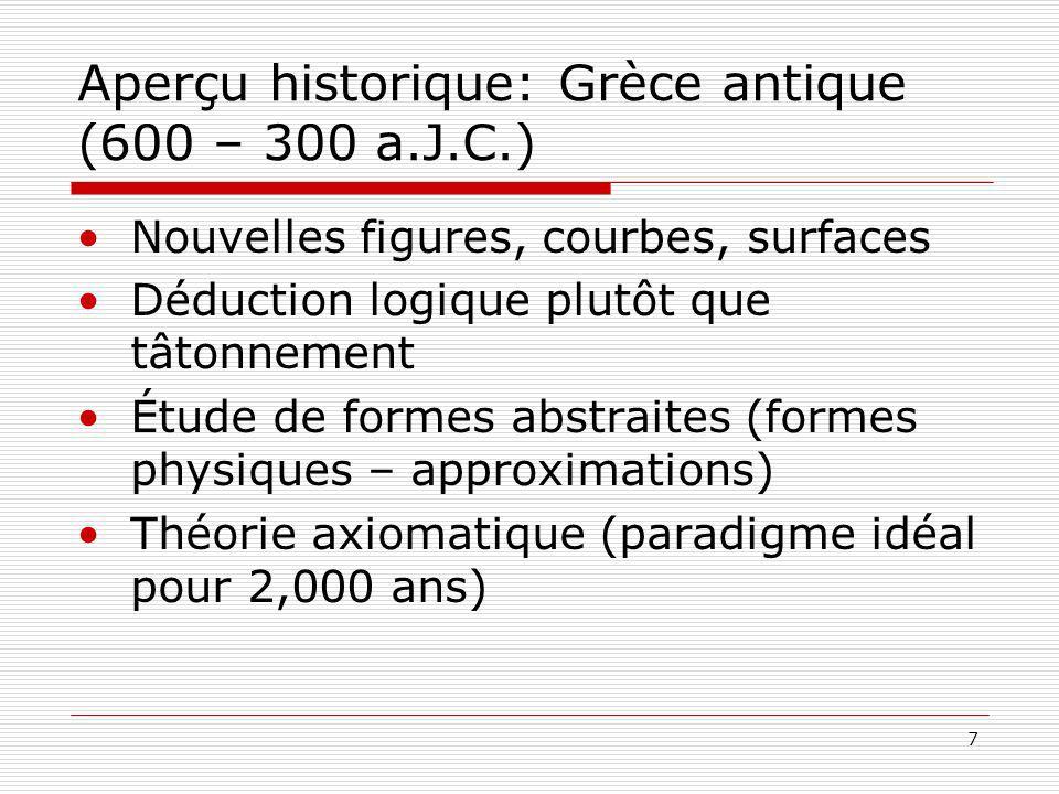 7 Aperçu historique: Grèce antique (600 – 300 a.J.C.) Nouvelles figures, courbes, surfaces Déduction logique plutôt que tâtonnement Étude de formes abstraites (formes physiques – approximations) Théorie axiomatique (paradigme idéal pour 2,000 ans)