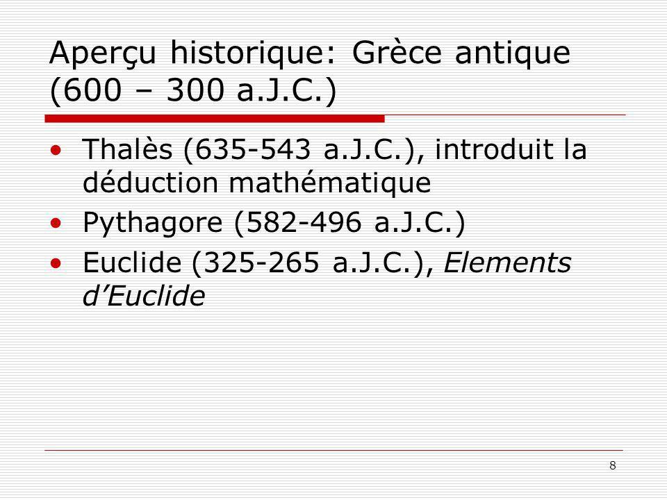 8 Aperçu historique: Grèce antique (600 – 300 a.J.C.) Thalès (635-543 a.J.C.), introduit la déduction mathématique Pythagore (582-496 a.J.C.) Euclide (325-265 a.J.C.), Elements dEuclide