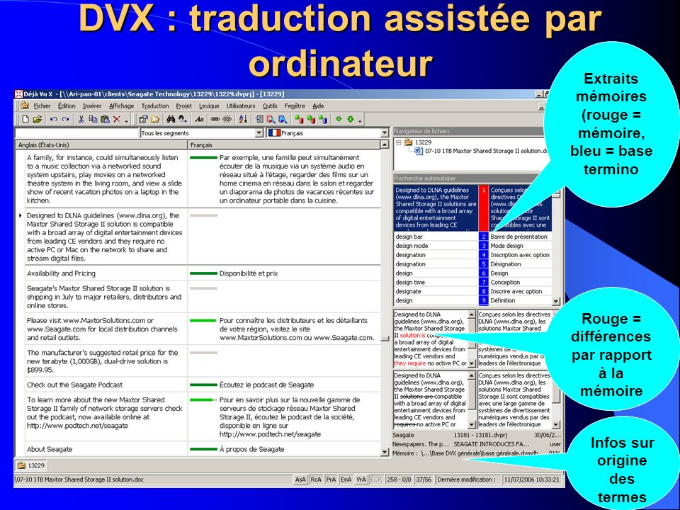 DVX : traduction assistée par ordinateur Extraits mémoires (rouge = mémoire, bleu = base termino Rouge = différences par rapport à la mémoire Infos su