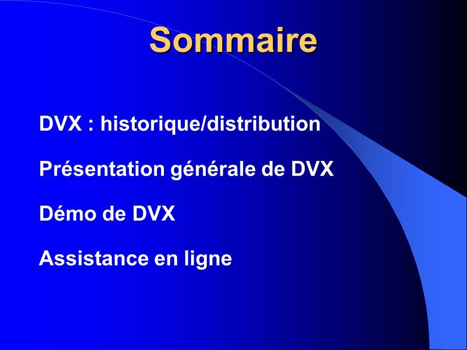 Sommaire DVX : historique/distribution Présentation générale de DVX Démo de DVX Assistance en ligne