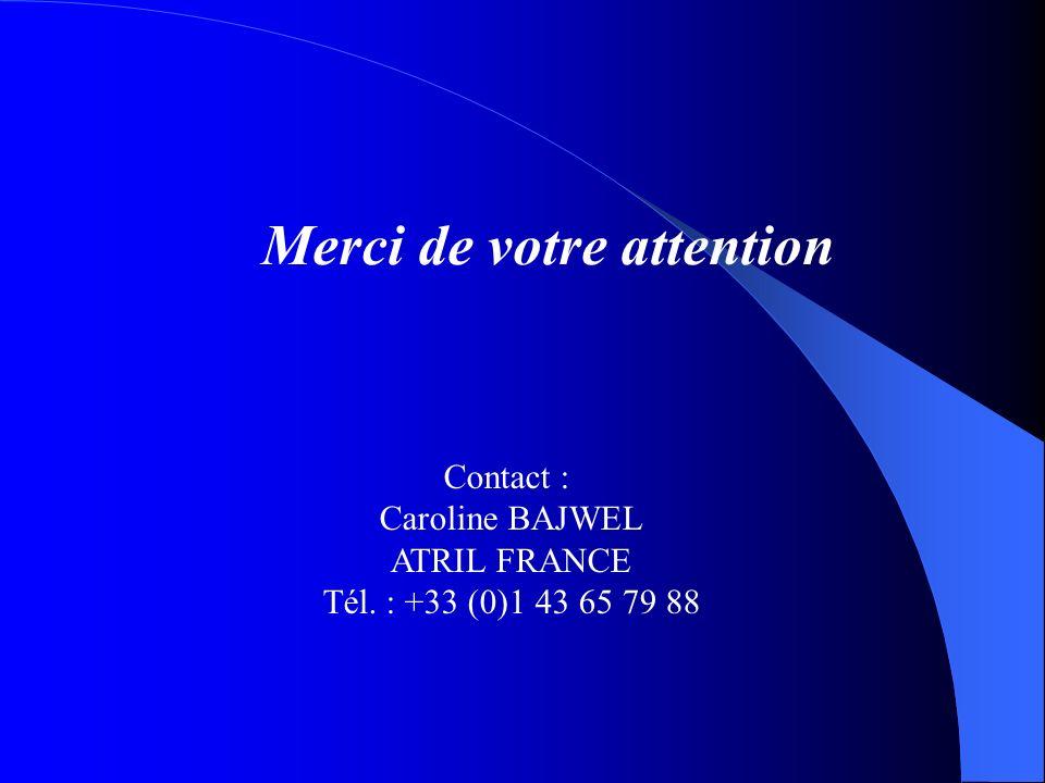 Merci de votre attention Contact : Caroline BAJWEL ATRIL FRANCE Tél. : +33 (0)1 43 65 79 88