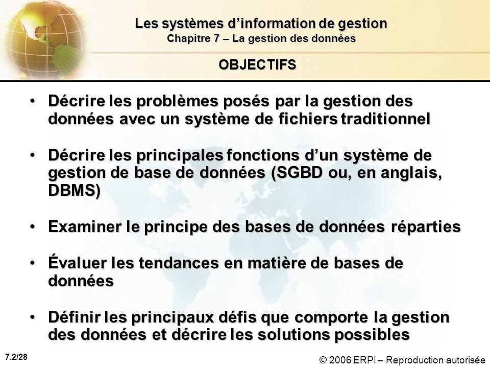 7.2/28 Les systèmes dinformation de gestion Chapitre 7 – La gestion des données © 2006 ERPI – Reproduction autorisée OBJECTIFS Décrire les problèmes posés par la gestion des données avec un système de fichiers traditionnelDécrire les problèmes posés par la gestion des données avec un système de fichiers traditionnel Décrire les principales fonctions dun système de gestion de base de données (SGBD ou, en anglais, DBMS)Décrire les principales fonctions dun système de gestion de base de données (SGBD ou, en anglais, DBMS) Examiner le principe des bases de données répartiesExaminer le principe des bases de données réparties Évaluer les tendances en matière de bases de donnéesÉvaluer les tendances en matière de bases de données Définir les principaux défis que comporte la gestion des données et décrire les solutions possiblesDéfinir les principaux défis que comporte la gestion des données et décrire les solutions possibles