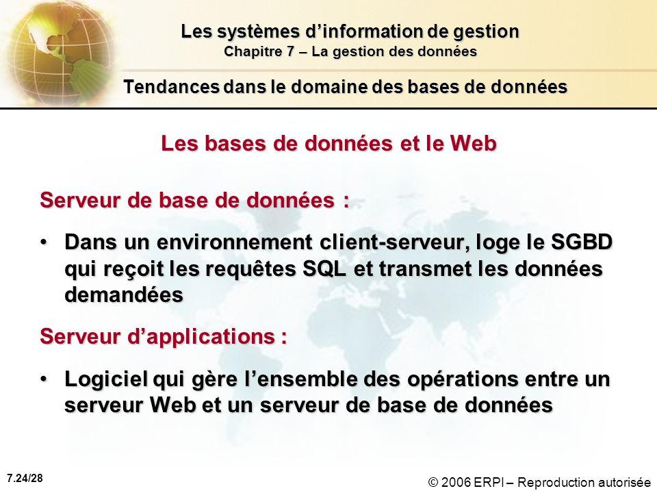 7.24/28 Les systèmes dinformation de gestion Chapitre 7 – La gestion des données © 2006 ERPI – Reproduction autorisée Tendances dans le domaine des bases de données Les bases de données et le Web Serveur de base de données : Dans un environnement client-serveur, loge le SGBD qui reçoit les requêtes SQL et transmet les données demandéesDans un environnement client-serveur, loge le SGBD qui reçoit les requêtes SQL et transmet les données demandées Serveur dapplications : Logiciel qui gère lensemble des opérations entre un serveur Web et un serveur de base de donnéesLogiciel qui gère lensemble des opérations entre un serveur Web et un serveur de base de données