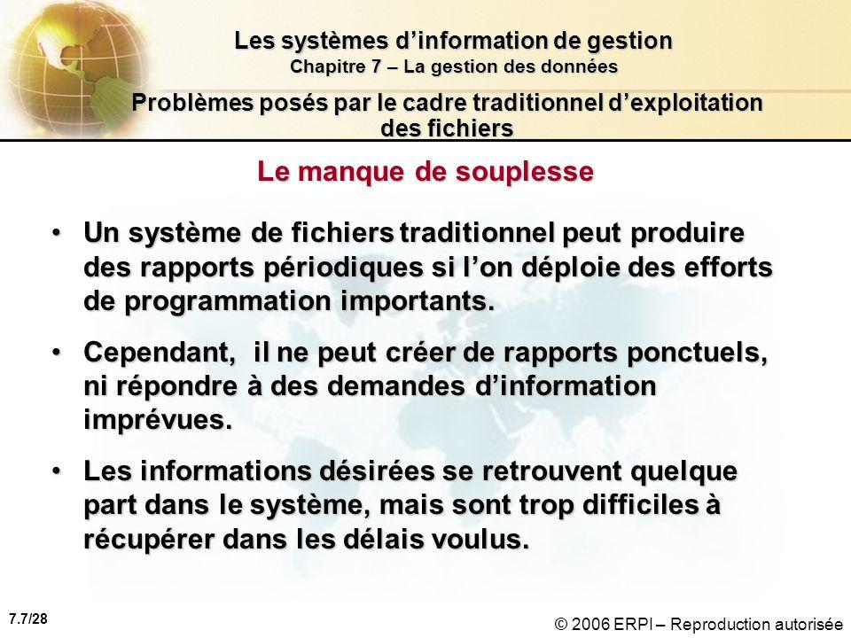 7.8/28 Les systèmes dinformation de gestion Chapitre 7 – La gestion des données © 2006 ERPI – Reproduction autorisée Problèmes posés par le cadre traditionnel dexploitation des fichiers Le manque de sécurité Puisquil y a peu de contrôle ou de gestion des données, il est impossible de contrôler :Puisquil y a peu de contrôle ou de gestion des données, il est impossible de contrôler : –laccès à linformation et –la diffusion de linformation.