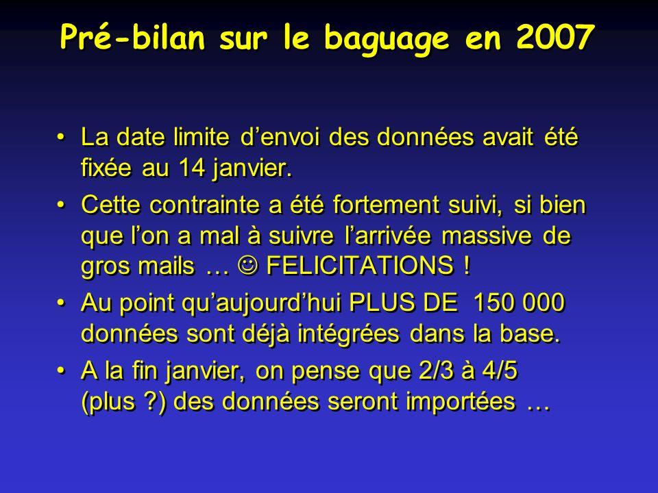 Pré-bilan sur le baguage en 2007 La date limite denvoi des données avait été fixée au 14 janvier.