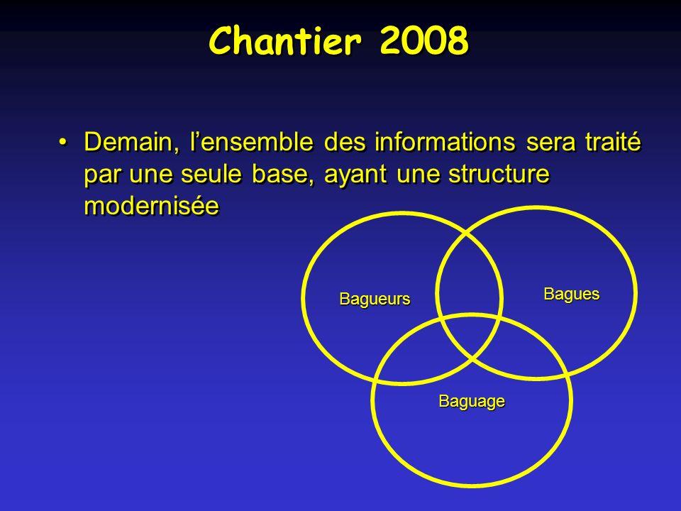 Chantier 2008 Demain, lensemble des informations sera traité par une seule base, ayant une structure modernisée Bagueurs Bagues Baguage