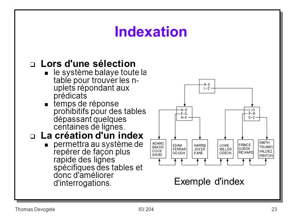 Thomas DevogeleISI 20423 Indexation Lors d'une sélection n le système balaye toute la table pour trouver les n- uplets répondant aux prédicats n temps
