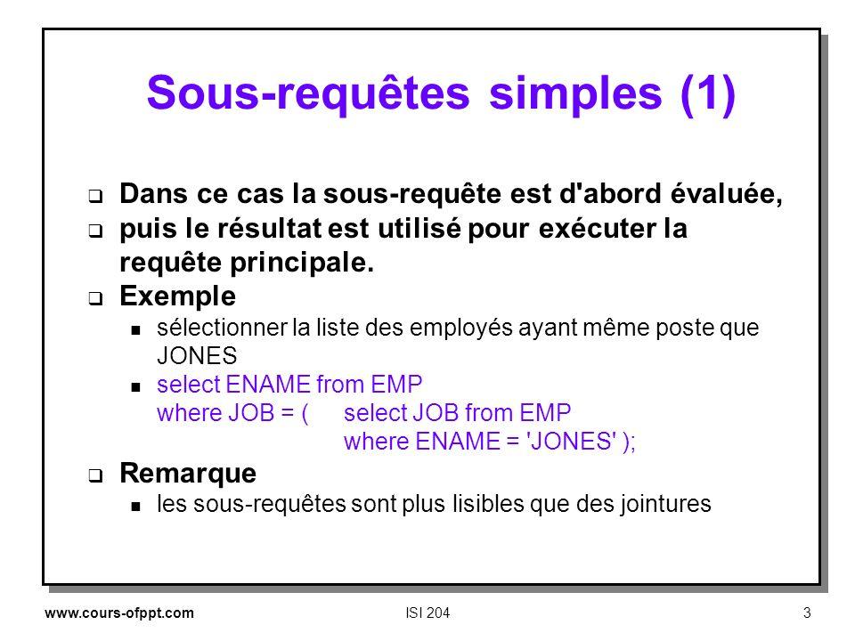 www.cours-ofppt.comISI 2043 Sous requêtes simples (1) Dans ce cas la sous requête est d'abord évaluée, puis le résultat est utilisé pour exécuter la r