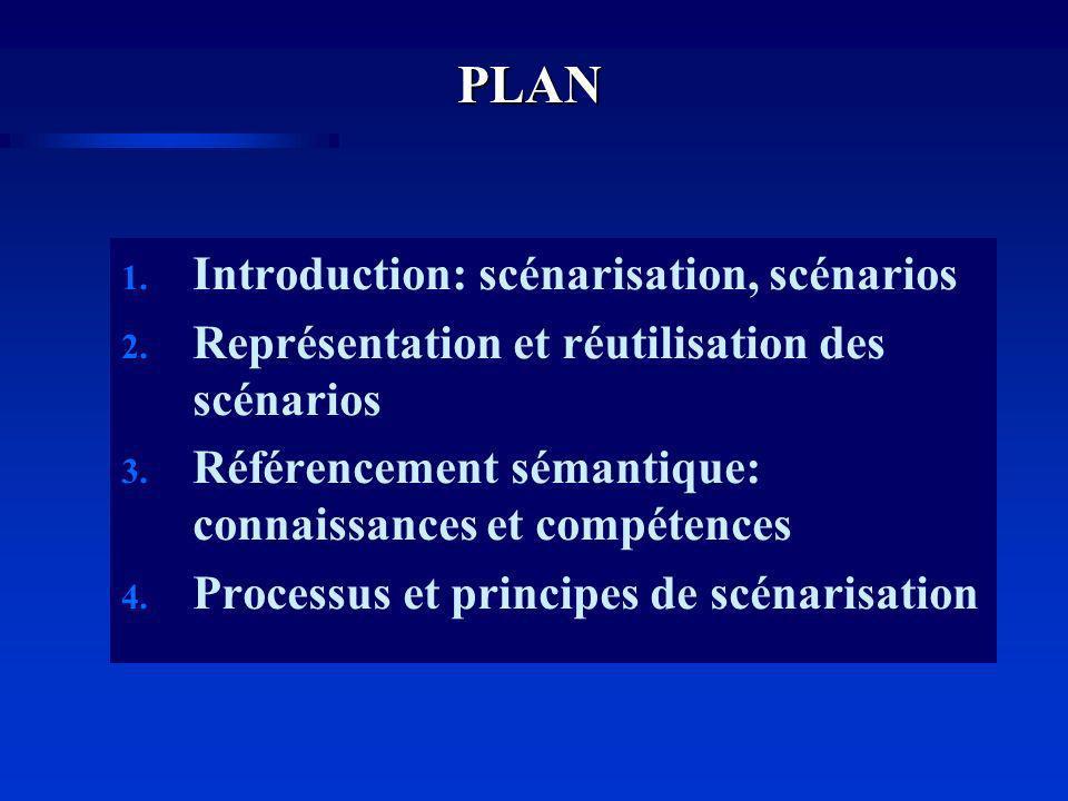 PLAN 1.Introduction: scénarisation, scénarios 2. Représentation et réutilisation des scénarios 3.