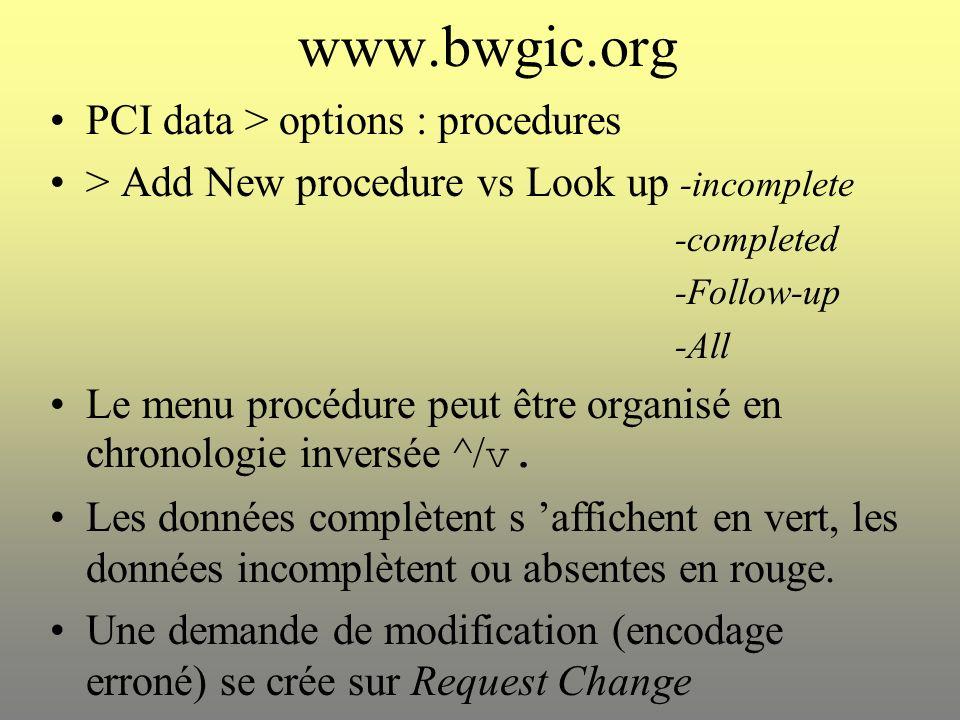 www.bwgic.org Relecture de l encodage : « clicker » sur date.