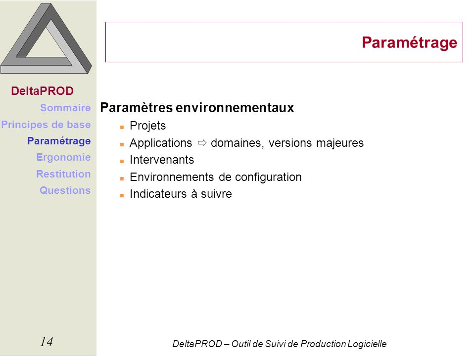 DeltaPROD – Outil de Suivi de Production Logicielle 14 Paramétrage Paramètres environnementaux n Projets n Applications domaines, versions majeures n