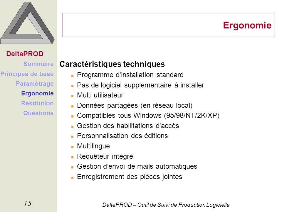 DeltaPROD – Outil de Suivi de Production Logicielle 15 Ergonomie Caractéristiques techniques n Programme dinstallation standard n Pas de logiciel supp