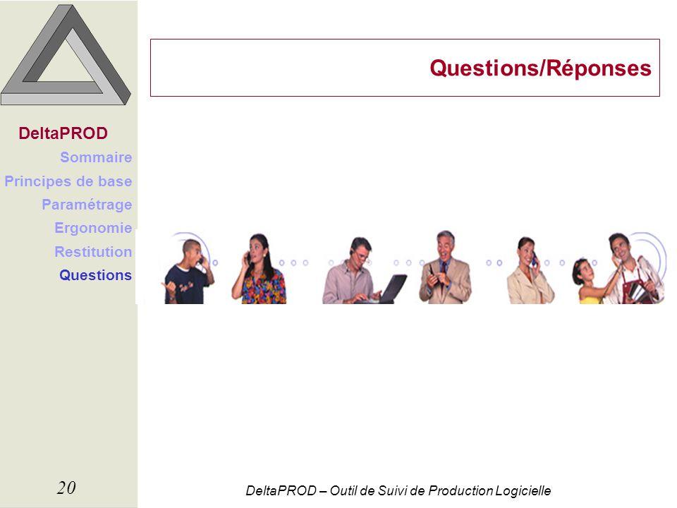 DeltaPROD – Outil de Suivi de Production Logicielle 20 Questions/Réponses DeltaPROD Sommaire Principes de base Paramétrage Ergonomie Restitution Quest