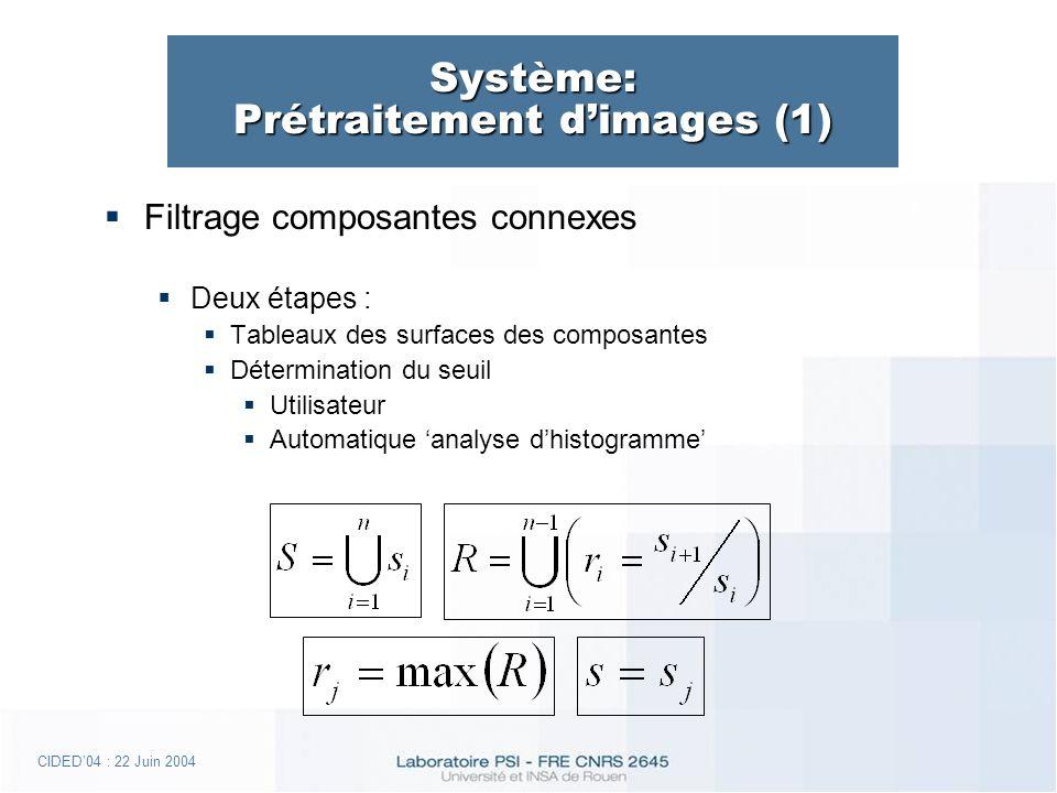 CIDED04 : 22 Juin 2004 Système: Prétraitement dimages (1) Filtrage composantes connexes Deux étapes : Tableaux des surfaces des composantes Détermination du seuil Utilisateur Automatique analyse dhistogramme