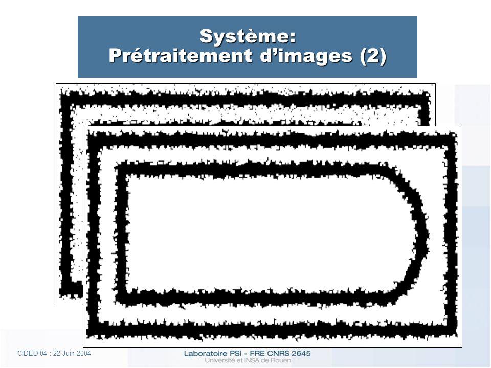 CIDED04 : 22 Juin 2004 Système: Prétraitement dimages (2)