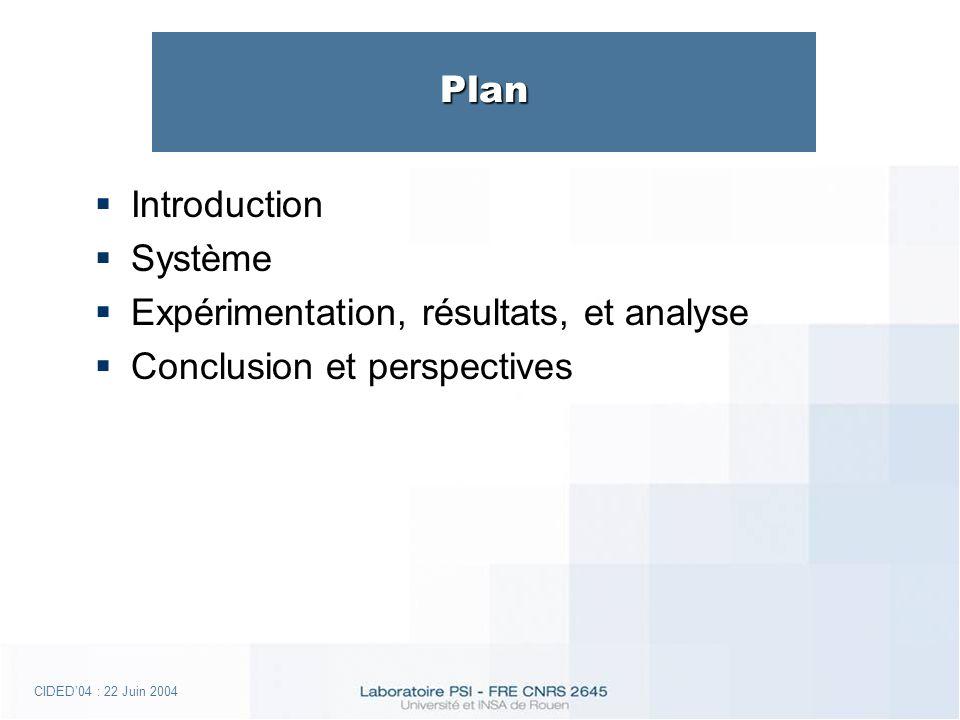 CIDED04 : 22 Juin 2004 Plan Introduction Système Expérimentation, résultats, et analyse Conclusion et perspectives