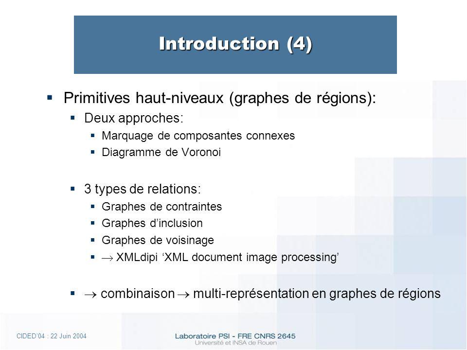 CIDED04 : 22 Juin 2004 Introduction (4) Primitives haut-niveaux (graphes de régions): Deux approches: Marquage de composantes connexes Diagramme de Voronoi 3 types de relations: Graphes de contraintes Graphes dinclusion Graphes de voisinage XMLdipi XML document image processing combinaison multi-représentation en graphes de régions