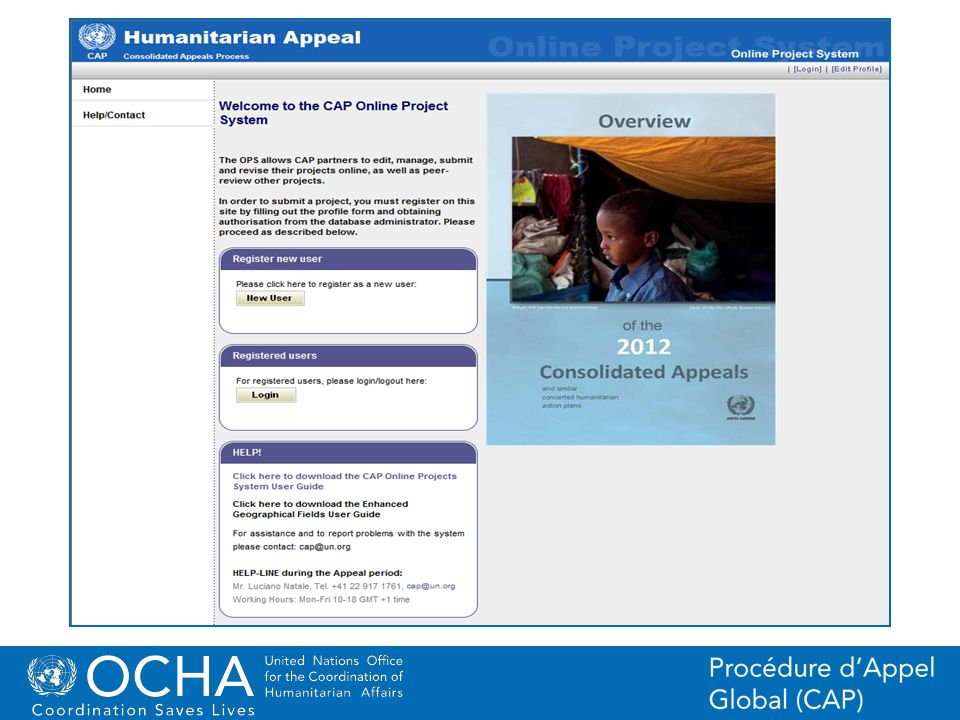 17Office for the Coordination of Humanitarian Affairs (OCHA) CAP (Consolidated Appeal Process) Section