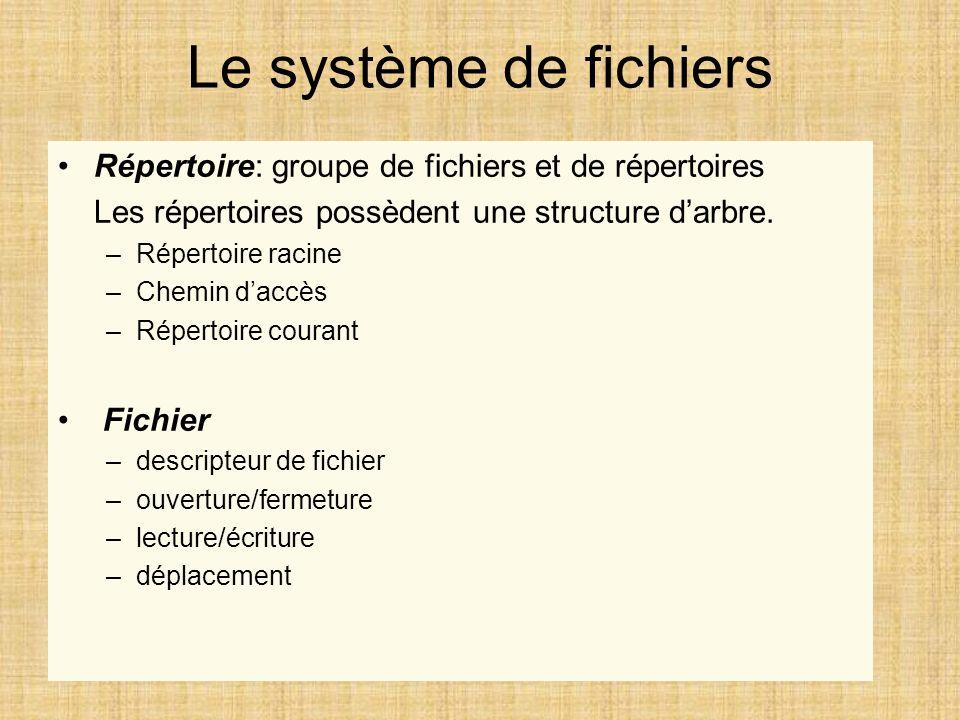 Le système de fichiers Répertoire: groupe de fichiers et de répertoires Les répertoires possèdent une structure darbre. –Répertoire racine –Chemin dac