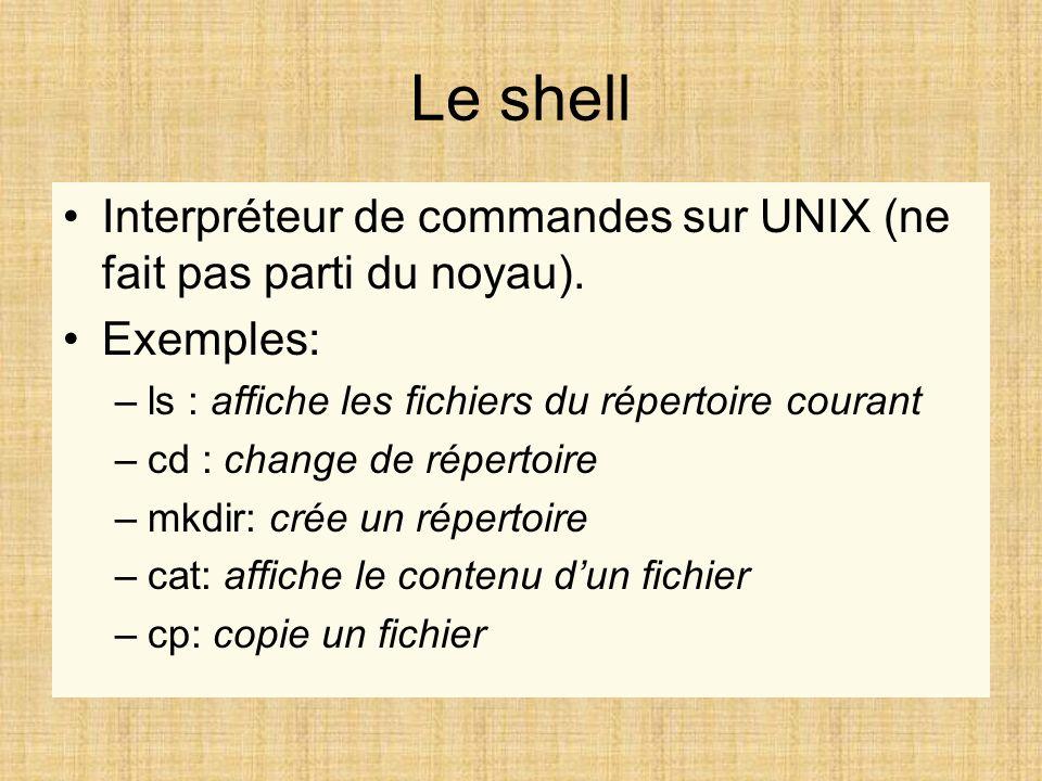 Le shell Interpréteur de commandes sur UNIX (ne fait pas parti du noyau). Exemples: –ls : affiche les fichiers du répertoire courant –cd : change de r