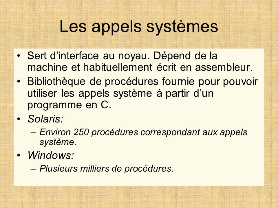 Les appels systèmes Sert dinterface au noyau. Dépend de la machine et habituellement écrit en assembleur. Bibliothèque de procédures fournie pour pouv