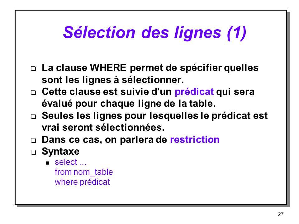 Sélection des lignes (1) La clause WHERE permet de spécifier quelles sont les lignes à sélectionner. Cette clause est suivie d'un prédicat qui sera év