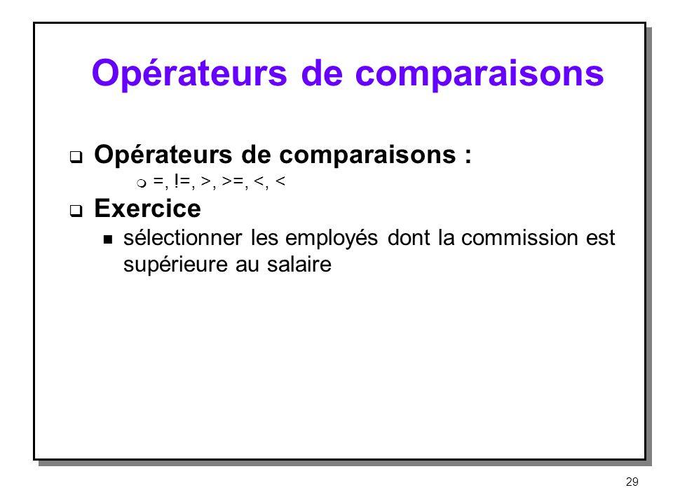 Opérateurs de comparaisons Opérateurs de comparaisons : m =, !=, >, >=, <, < Exercice n sélectionner les employés dont la commission est supérieure au