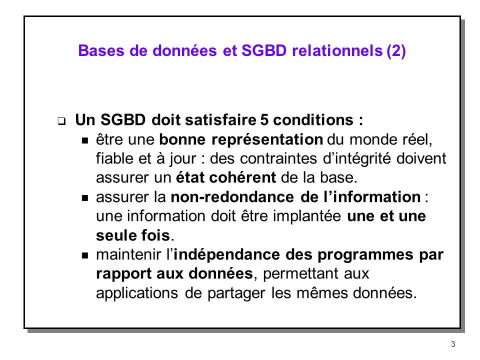 Bases de données et SGBD relationnels (2) Un SGBD doit satisfaire 5 conditions : n être une bonne représentation du monde réel, fiable et à jour : des