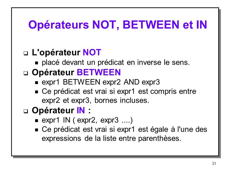 Opérateurs NOT, BETWEEN et IN L'opérateur NOT n placé devant un prédicat en inverse le sens. Opérateur BETWEEN n expr1 BETWEEN expr2 AND expr3 n Ce pr