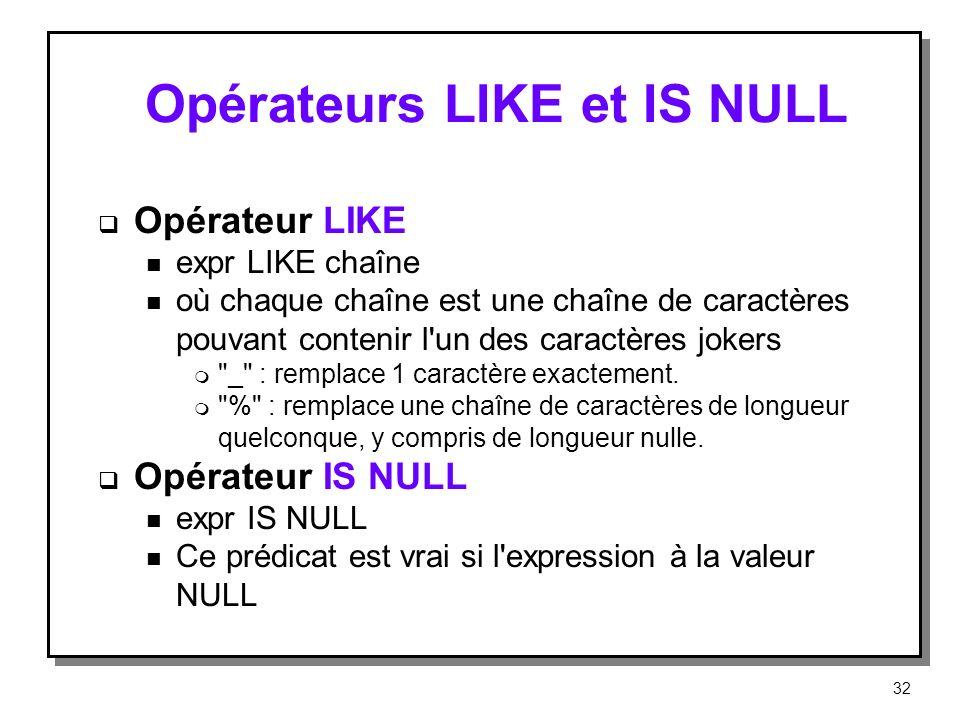 Opérateurs LIKE et IS NULL Opérateur LIKE n expr LIKE chaîne n où chaque chaîne est une chaîne de caractères pouvant contenir l'un des caractères joke