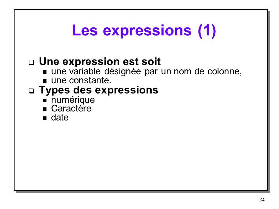 Les expressions (1) Une expression est soit n une variable désignée par un nom de colonne, n une constante. Types des expressions n numérique n Caract