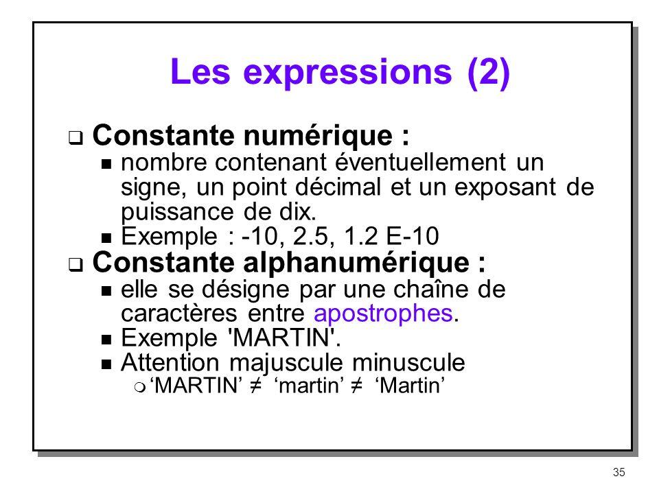 Les expressions (2) Constante numérique : n nombre contenant éventuellement un signe, un point décimal et un exposant de puissance de dix. n Exemple :
