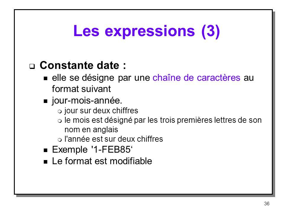 Les expressions (3) Constante date : n elle se désigne par une chaîne de caractères au format suivant n jour mois année. m jour sur deux chiffres m le