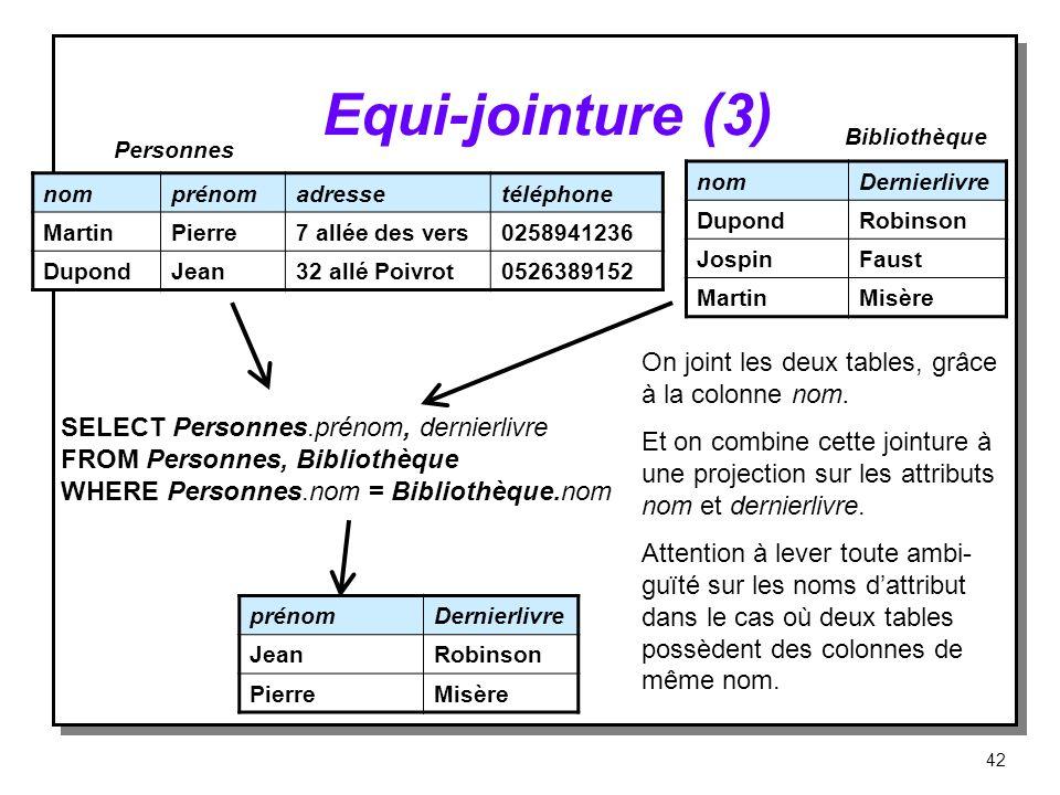 Equi jointure (3) nomDernierlivre DupondRobinson JospinFaust MartinMisère nomprénomadressetéléphone MartinPierre7 allée des vers0258941236 DupondJean3