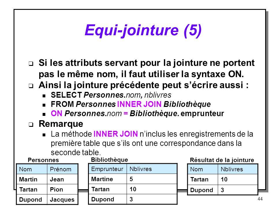 Equi jointure (5) Si les attributs servant pour la jointure ne portent pas le même nom, il faut utiliser la syntaxe ON. Ainsi la jointure précédente p