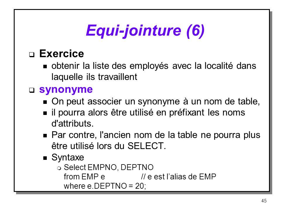 Equi jointure (6) Exercice n obtenir la liste des employés avec la localité dans laquelle ils travaillent synonyme n On peut associer un synonyme à un