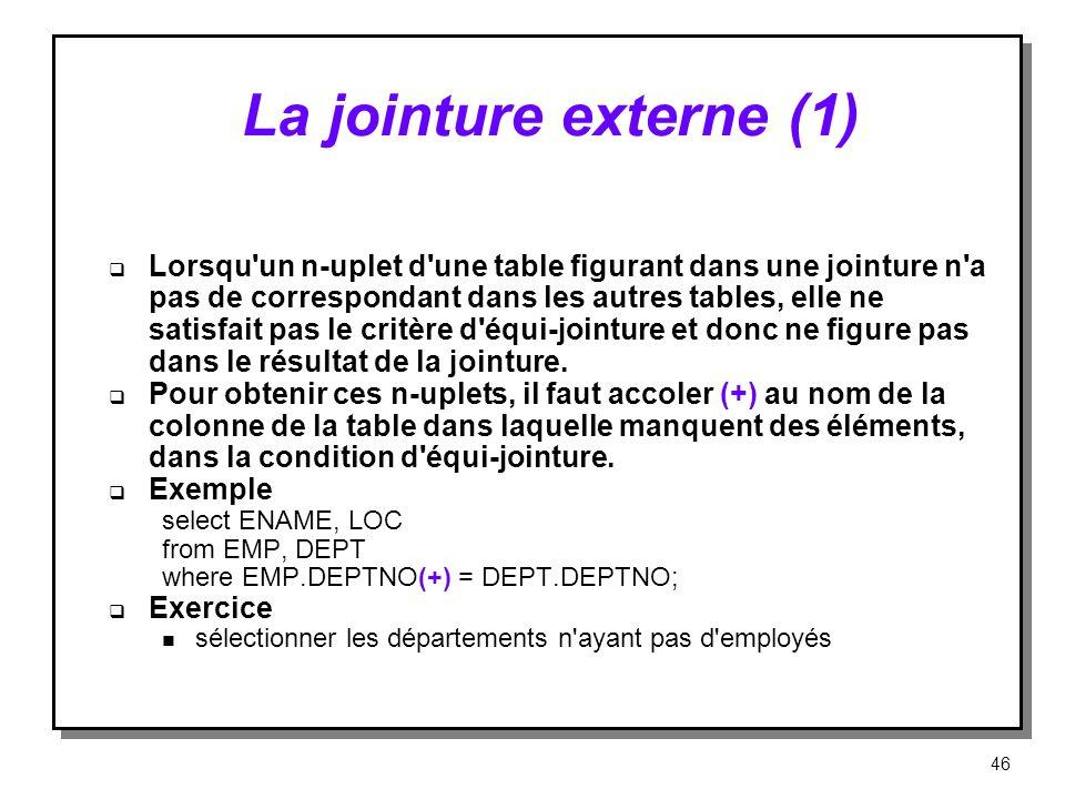 La jointure externe (1) Lorsqu'un n-uplet d'une table figurant dans une jointure n'a pas de correspondant dans les autres tables, elle ne satisfait pa