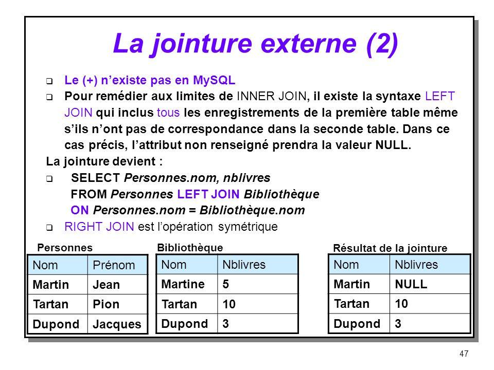 La jointure externe (2) Le (+) nexiste pas en MySQL Pour remédier aux limites de INNER JOIN, il existe la syntaxe LEFT JOIN qui inclus tous les enregi