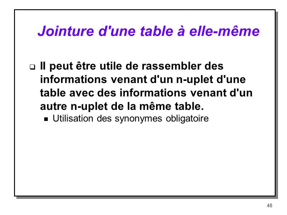 Jointure d'une table à elle même II peut être utile de rassembler des informations venant d'un n-uplet d'une table avec des informations venant d'un a