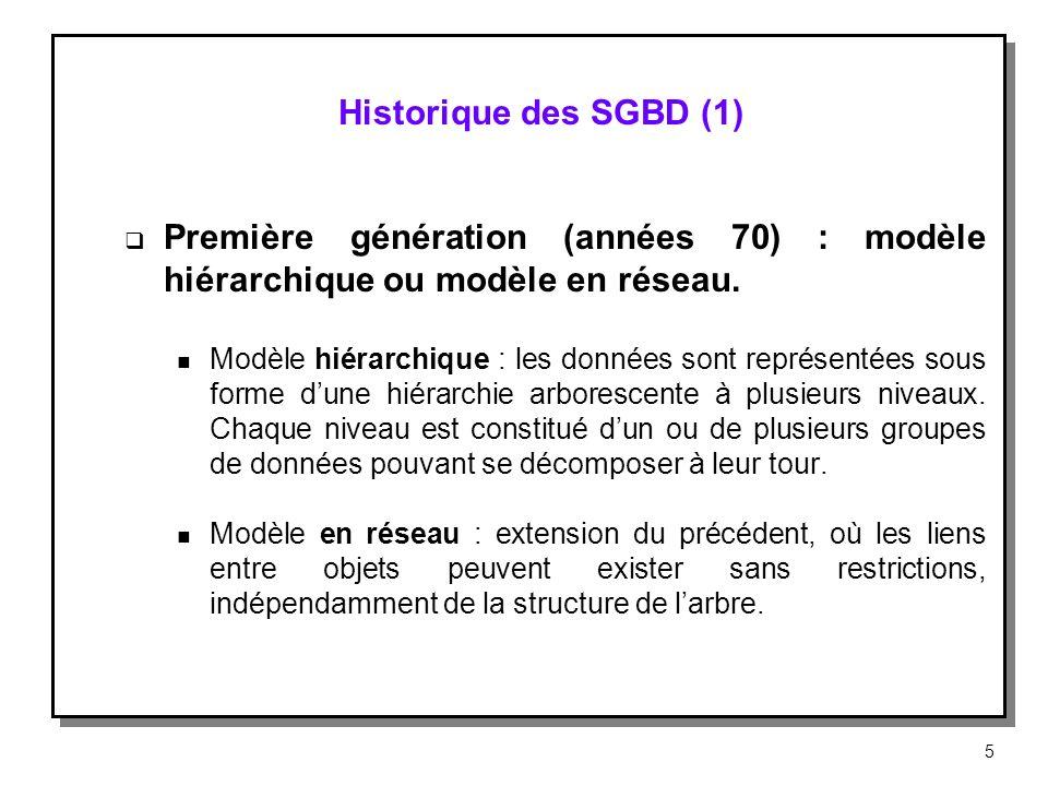 Historique des SGBD (1) Première génération (années 70) : modèle hiérarchique ou modèle en réseau. n Modèle hiérarchique : les données sont représenté