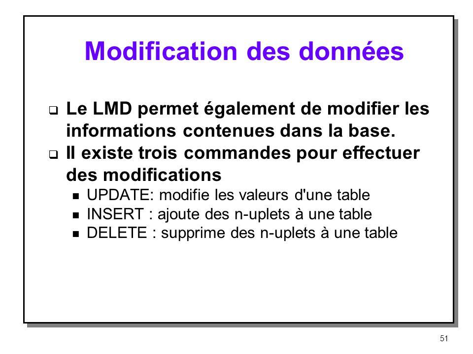 Modification des données Le LMD permet également de modifier les informations contenues dans la base. II existe trois commandes pour effectuer des mod