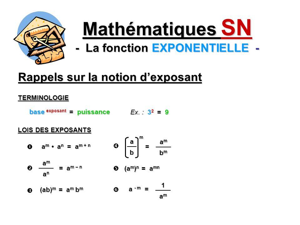 Rappels sur la notion dexposant Mathématiques SN - La fonction EXPONENTIELLE - base exposant = puissance TERMINOLOGIE Ex. : 3 2 = 9 LOIS DES EXPOSANTS