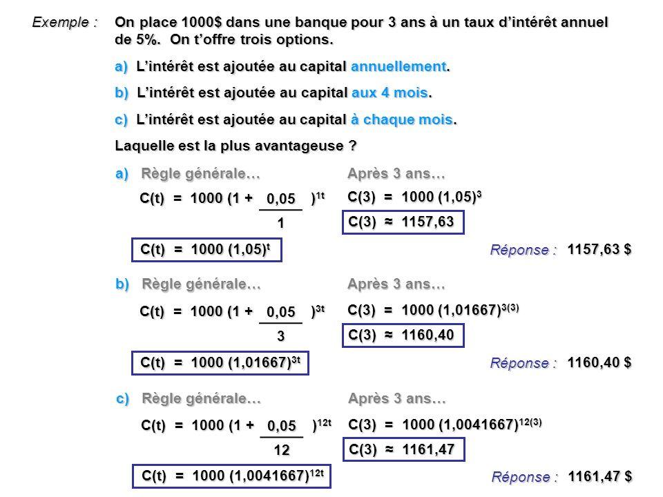 Exemple : On place 1000$ dans une banque pour 3 ans à un taux dintérêt annuel de 5%. On toffre trois options. a) Lintérêt est ajoutée au capital annue