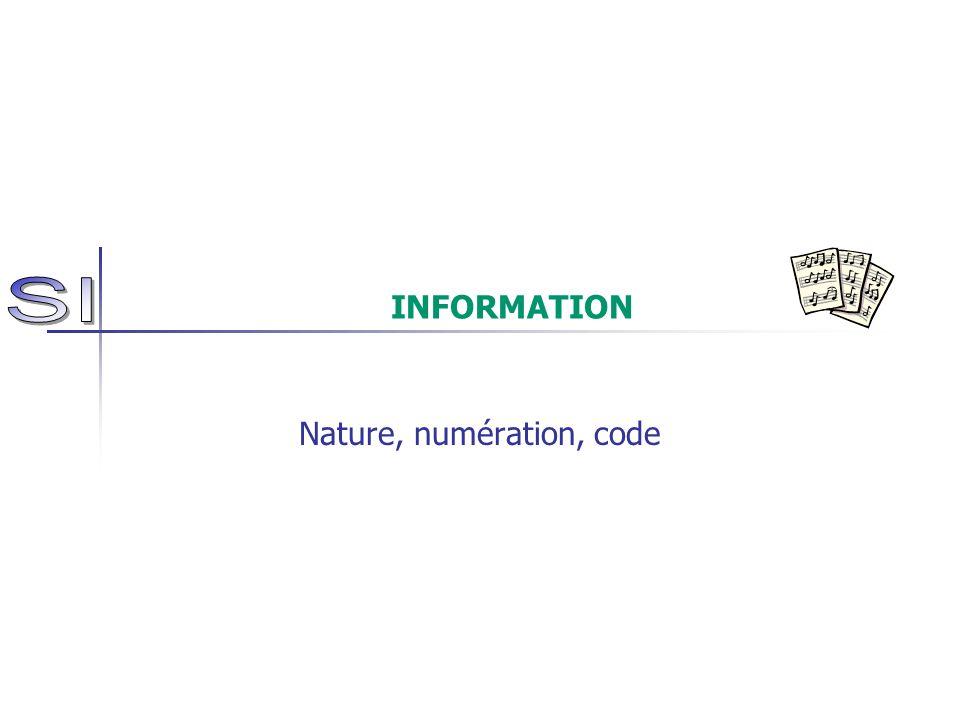 INFORMATION Nature, numération, code