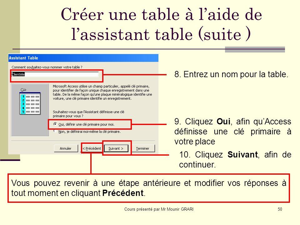 Cours présenté par Mr Mounir GRARI50 Créer une table à laide de lassistant table (suite ) 8.