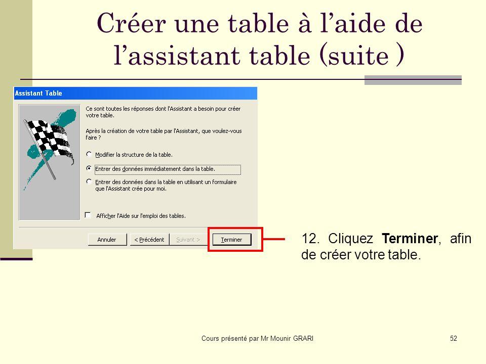 Cours présenté par Mr Mounir GRARI52 Créer une table à laide de lassistant table (suite ) 12.