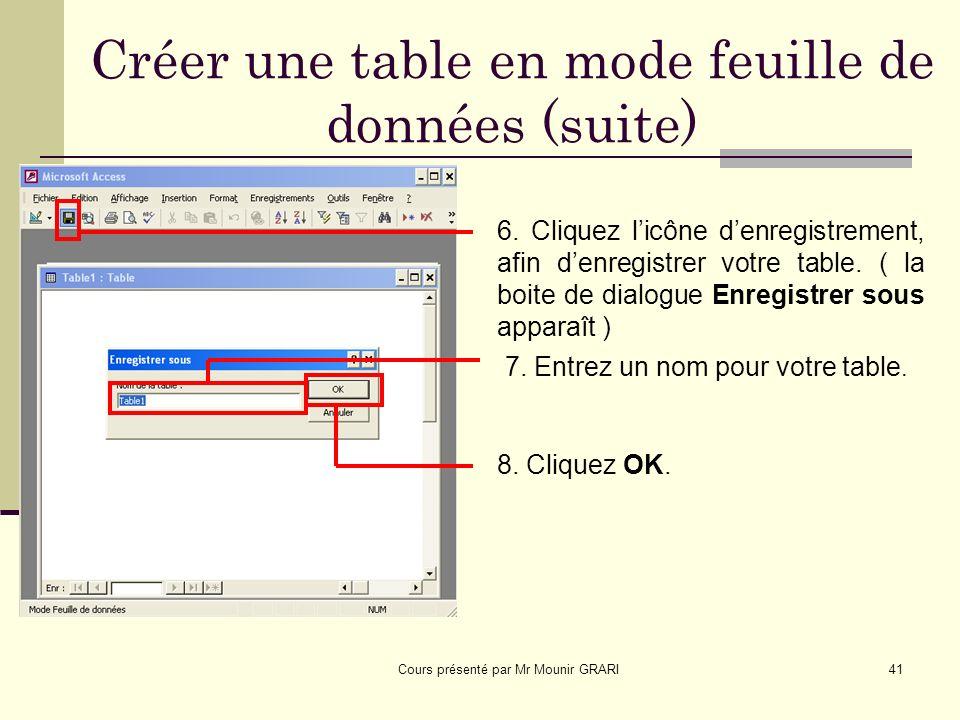 Cours présenté par Mr Mounir GRARI42 Créer une table en mode feuille de données (suite) Un message apparaît avertissant que la table ne possède pas de clé primaire.